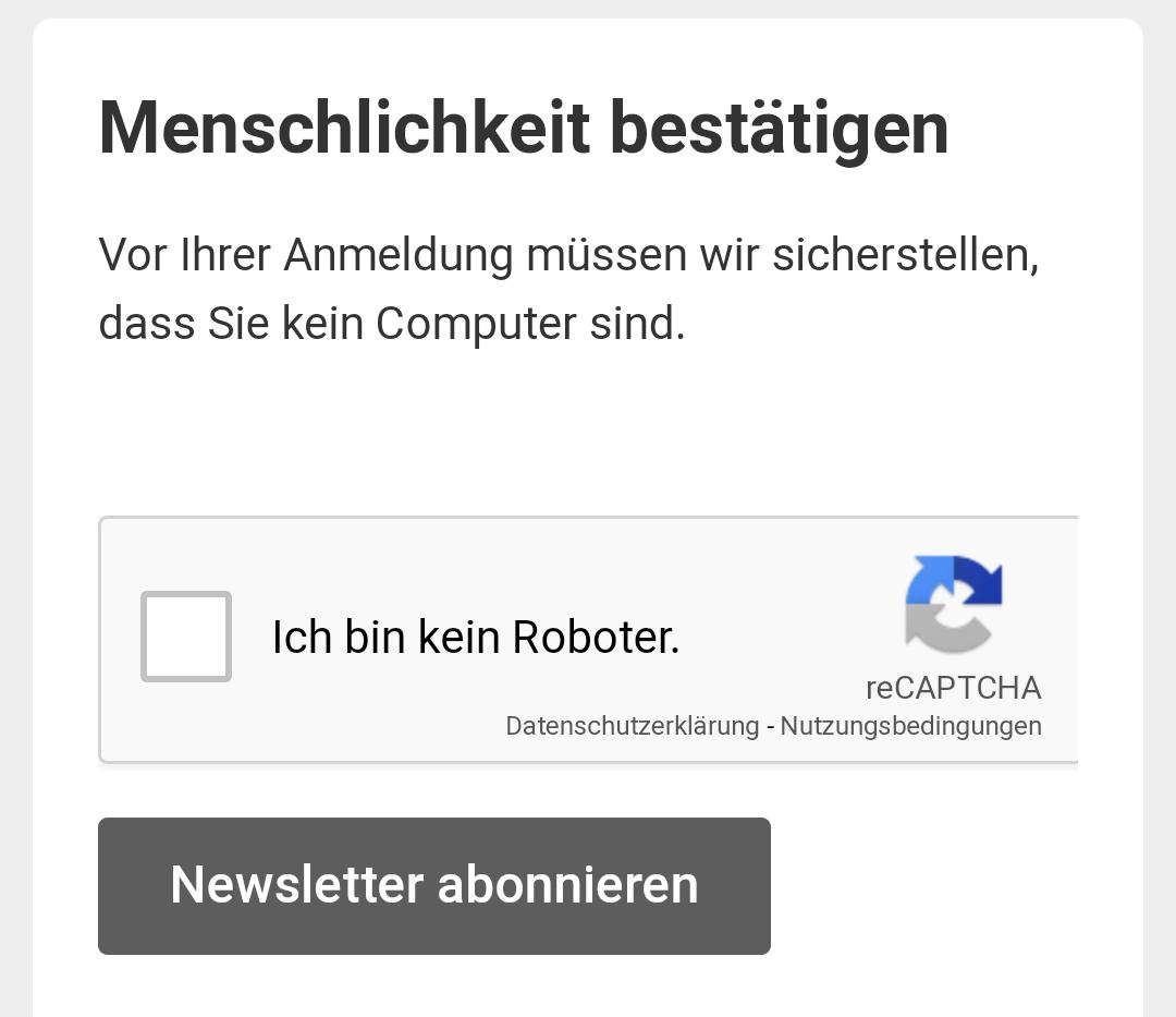 Anmeldung MailChimp