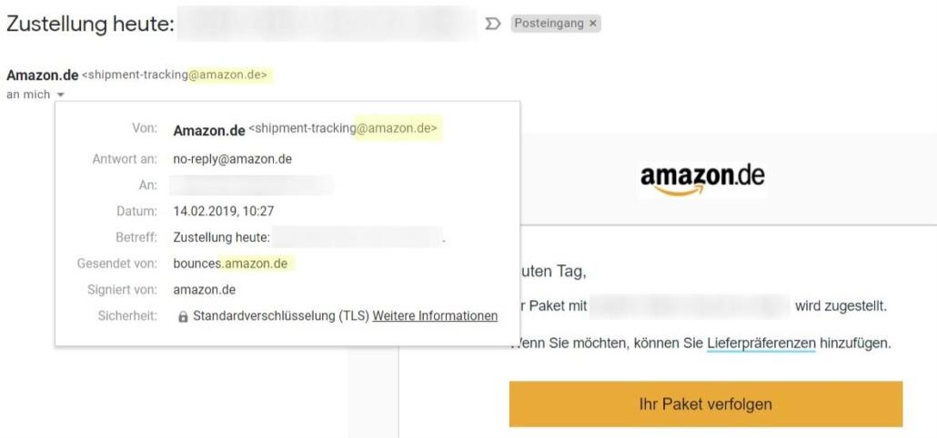 Echte Amazon-E-Mail