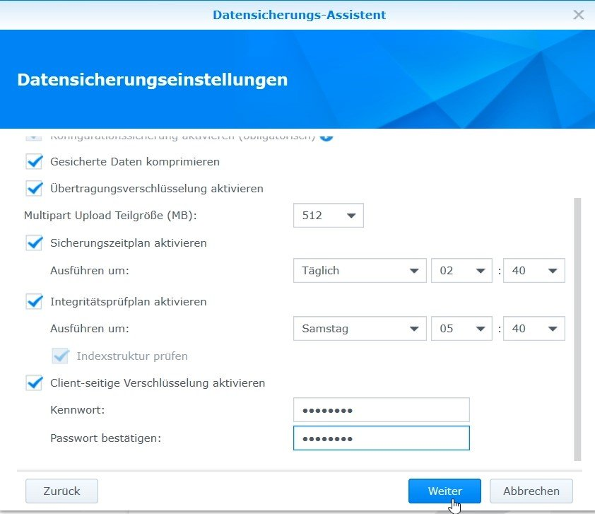 Synology - Datensicherungseinstellungen