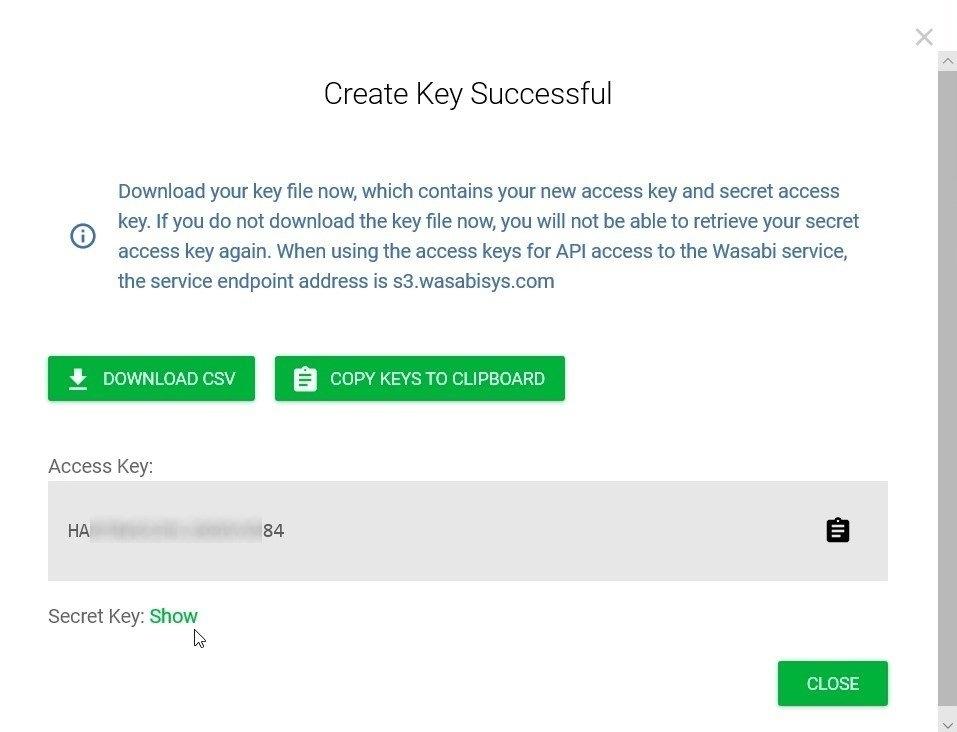 Wasabi -Accesskey erstellen