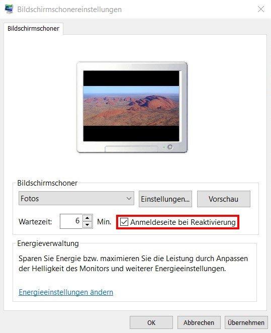 Bildschirmschonereinstellungen - Anmeldeseite