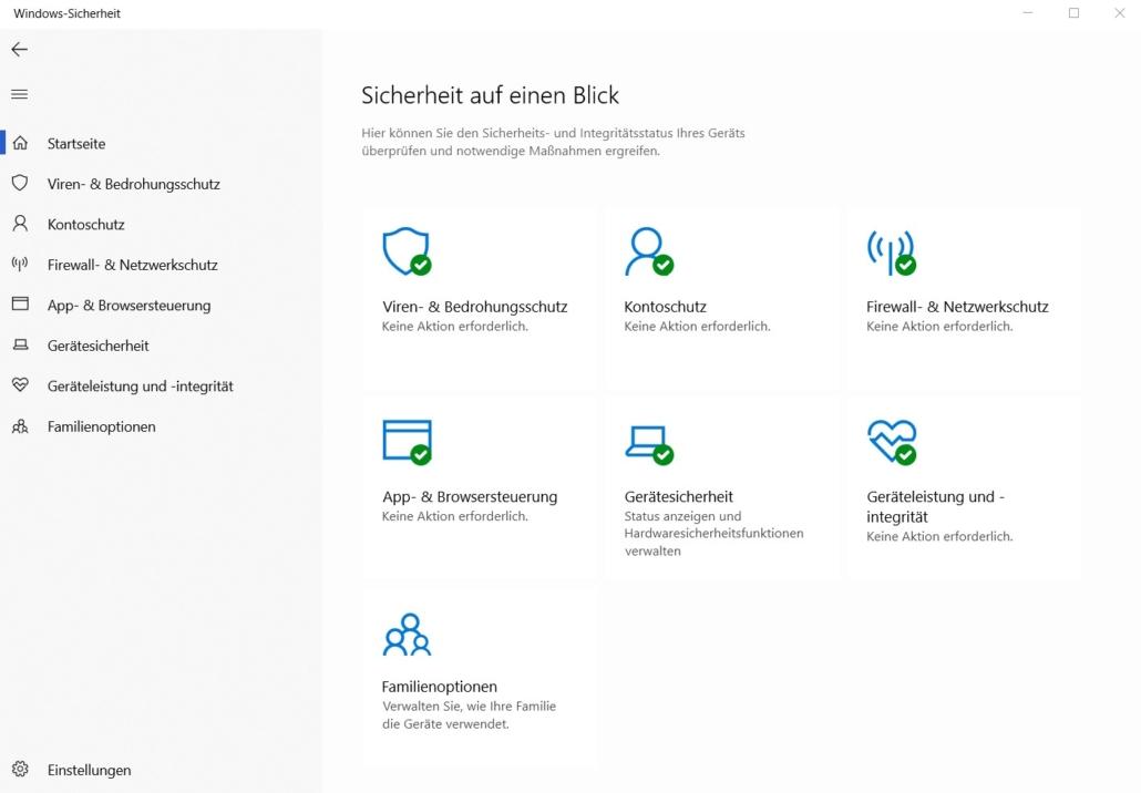 Windows 10 - Sicherheit auf einen Blick